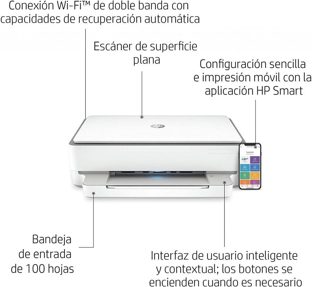 hp envy 6020 - impresora multifunción (10 ppm, a4, wifi, escanea y copia) blanca, medium